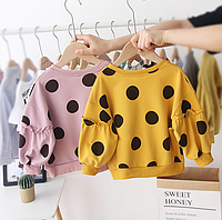 Красиві кофтинки для дівчаток / для маленьких дівчаток толстовки з принтом в горошок светр з довгими рукавами