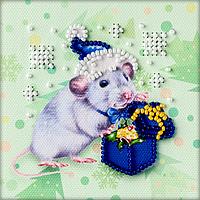 Магнит для вышивки бисером Крыса в синем