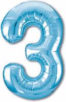 Гелиевая цифра 100 см холодний блакитний №3