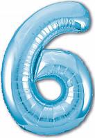 Гелиевая цифра 100 см холодний блакитний №6