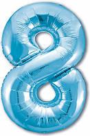 Гелиевая цифра 100 см холодний блакитний №8