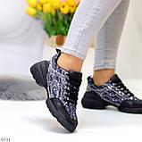 Кроссовки женские черные текстиль + силикон/ резина весна-лето-осень, фото 3