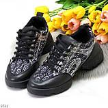 Кроссовки женские черные текстиль + силикон/ резина весна-лето-осень, фото 8