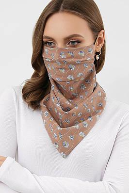 Коричневый шарф-маска с цветочным принтом