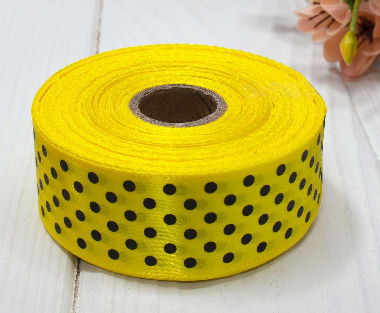 Лента атласная в горошек 2,5см (25 ярдов) Цена за рулон, цвет - Желтый