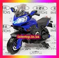 Дитячий двоколісний електро - мотоцикл M 3630 синій (дим з вихлопної труби). Для дітей 3-8 років