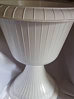 Горщик пластиковий на ніжці Газон Гаваї конус 33 см білий, фото 1