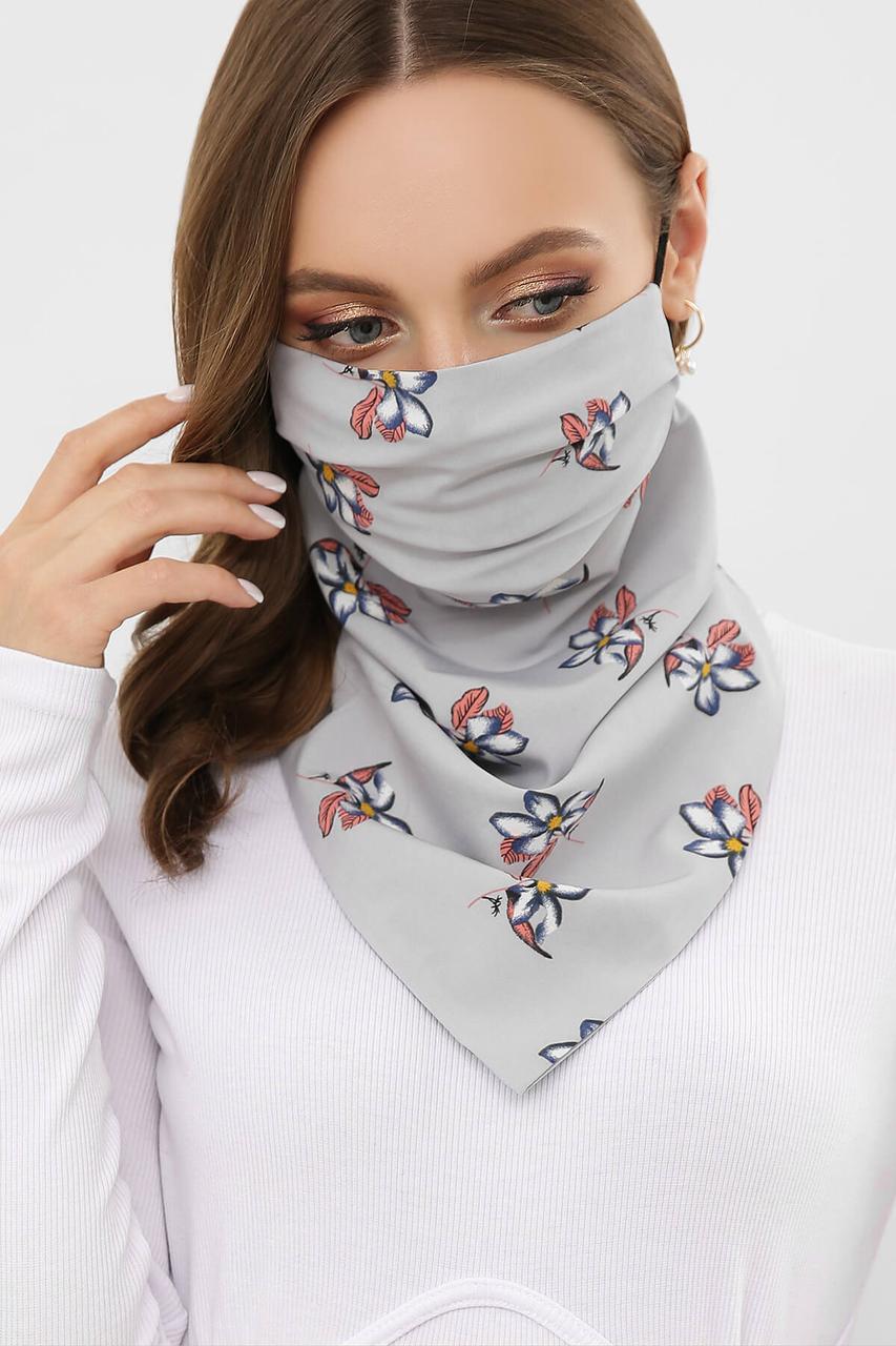 Женская маска-шейный платок серая с принтом