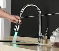 Смеситель на кухню выдвижной слив кран с подсветкой вращающийся на 360 градусов WanFan Хром