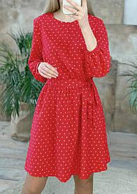 """Платье красное с длинными рукавами в белый горошек """"Софи""""  Норма и батал"""