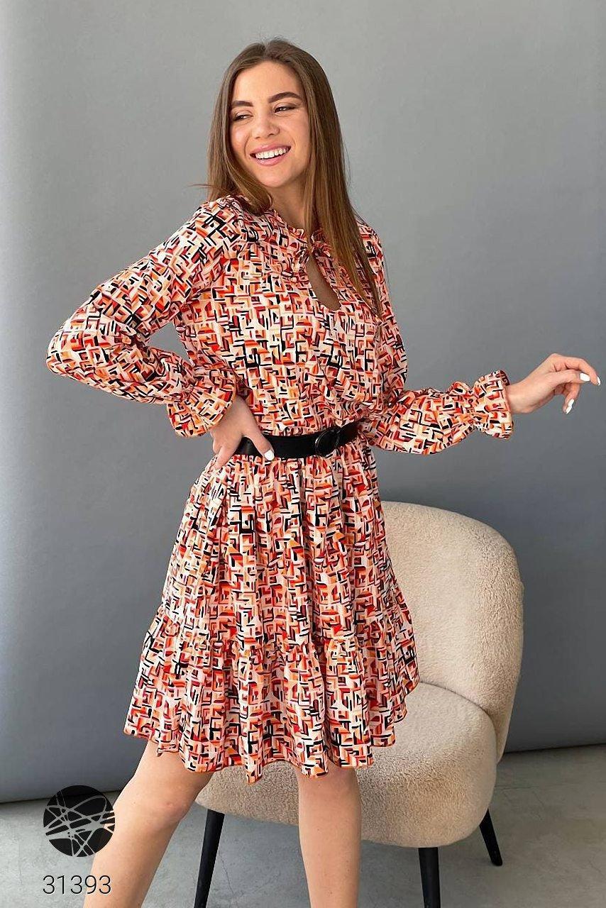 Сукня міді з геометричним принтом,  софт-шовк, р.42-44, 46-48, чотири кольора