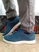 Літні кеди,кросівки сині з нубука на платформі Detta