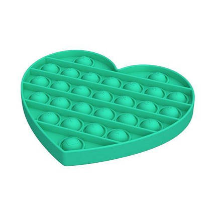 Pop It сенсорна іграшка, пупырка, поп іт антистрес, pop it fidget, попит, бірюзове серце, фото 2