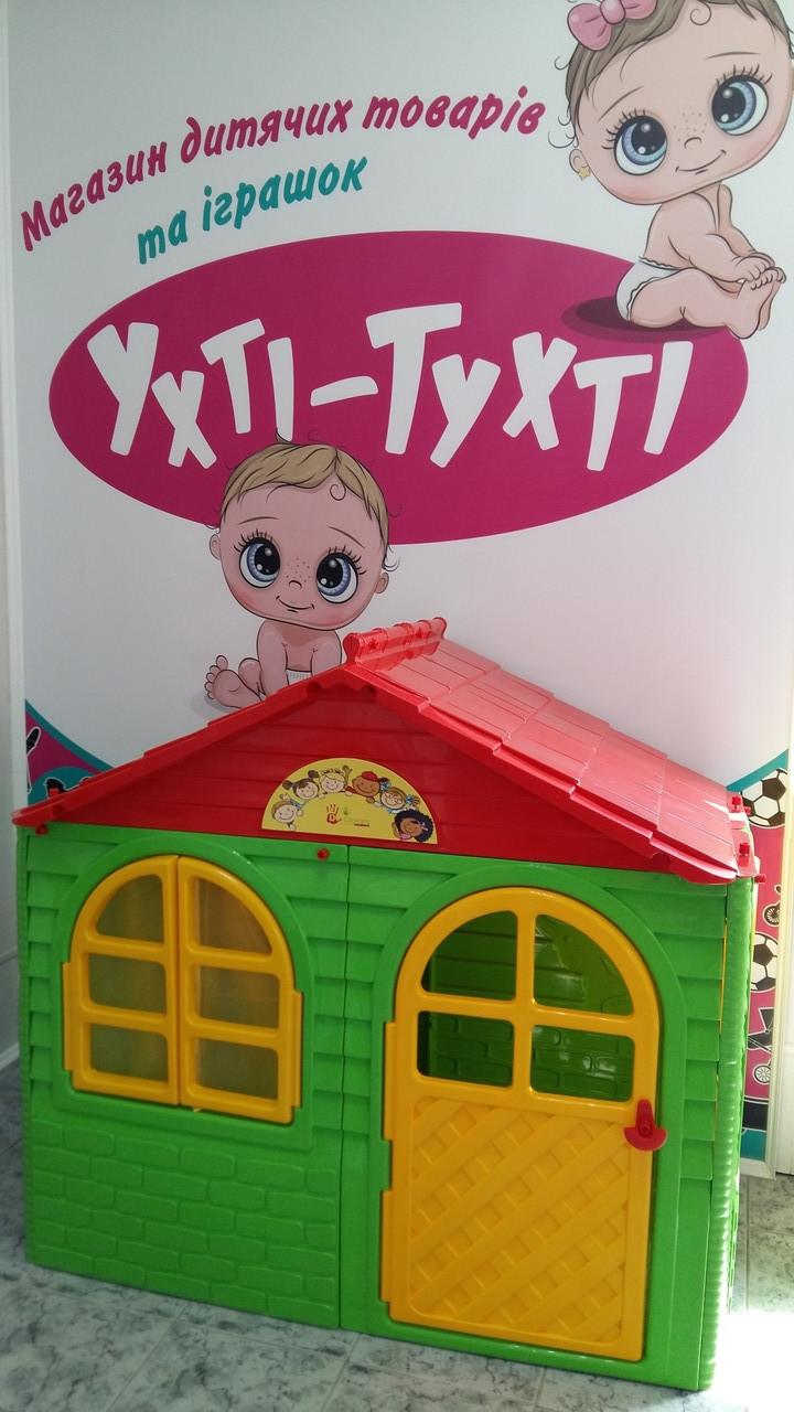 Детский игровой домик для улицы, Домик со шторками 1290*690*1200мм, Doloni, Зелено-красный 02550/13