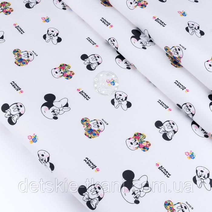 """Ткань сатин """"Микки чёрные с цветочками"""" на белом, №3448с"""