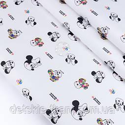 """Тканина сатин """"Міккі чорні з квіточками"""" на білому, №3448с"""