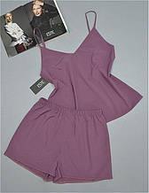 Пижама женская майка и шорты Este однотонный софт 201.