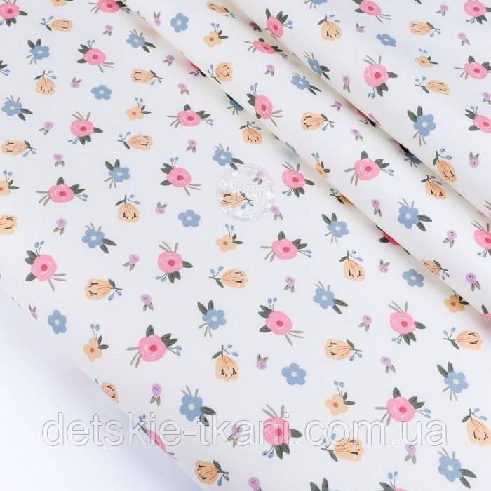 """Сатин тканина """"Одиночні мілкі квіточки"""" на білому №3445с"""