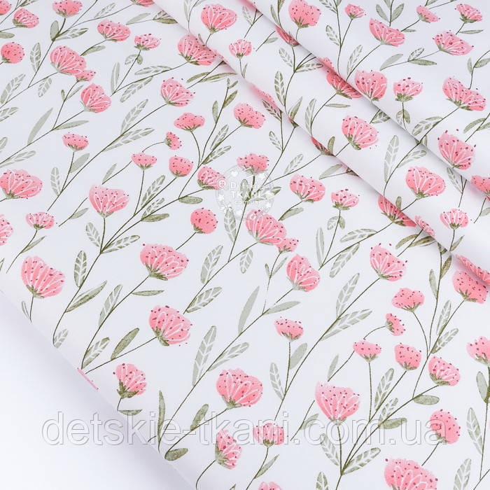 """Сатин ткань """"Розово-лососевые цветы на длинных стеблях"""" на белом, №3442с"""