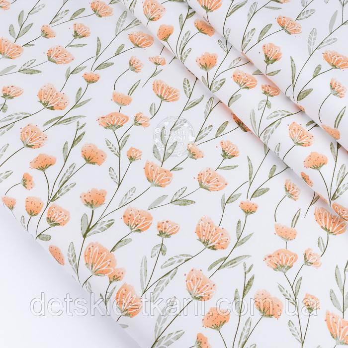 """Сатин тканина """"Персикові квіти на довгих стеблах"""" на білому №3441с"""