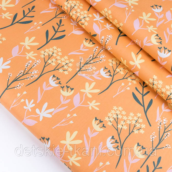 """Сатин ткань """"Большие травы"""" на жёлто-оранжевом фоне, №3436с"""