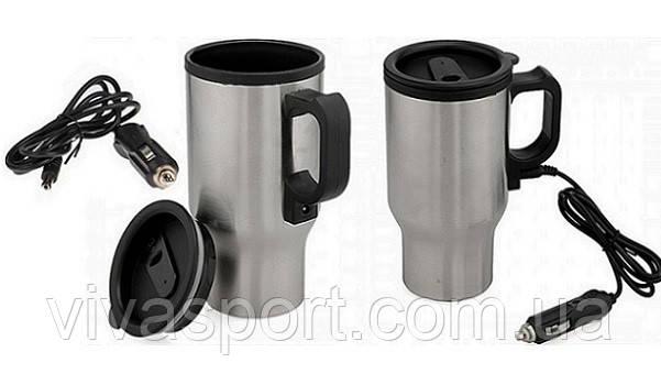 Автомобильная кружка от прикуривателя Стейнлесс Стил, автокружка с подогревом Stainless Steel Smart Mug