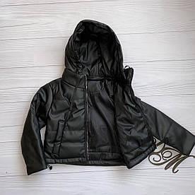 """Куртка демисезонная для девочки """"Комини"""" черная эко-кожа 122"""