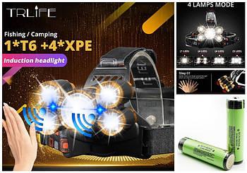 Налобный фонарь с зумом и сенсором движения TRLIFE+Аккумулятор 3400mAh*2 (4*XPE+1*T6, 2*18650 Panasonic)
