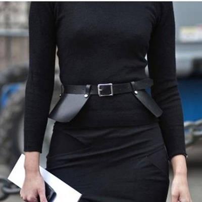 Ремень-баска портупея женский широкий эко-кожаный черный массивный ремень-юбка с оборками на пояс на талию