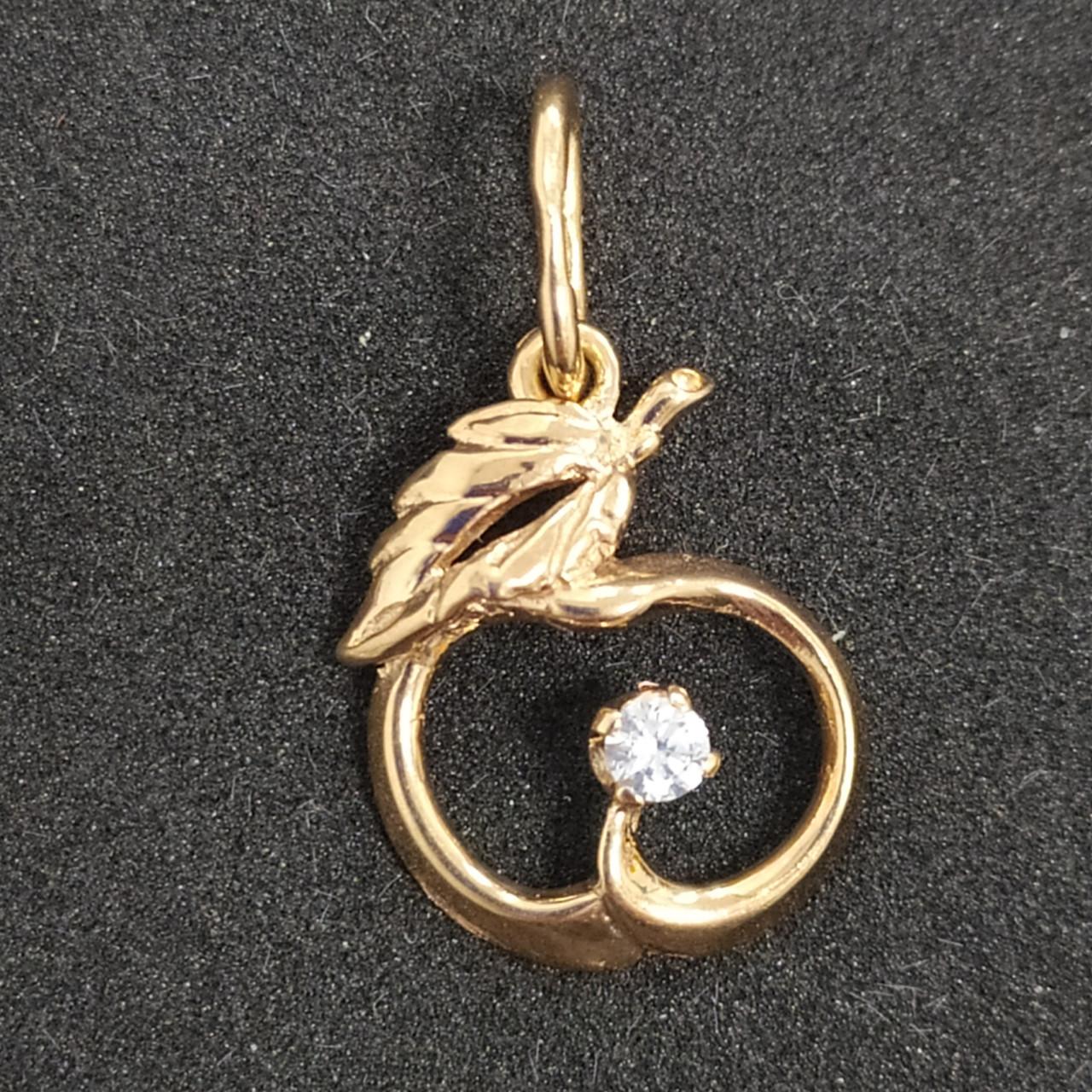Золотая подвеска с цирконием 585 пробы. Б/У. Вес - 1,07 г