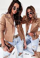 Модная женская замшевая куртка косуха С-М Разные цвета