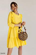 Свободное желтое платье-мини
