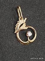 Золотая подвеска с цирконием 585 пробы. Б/У. Вес - 1,07 г, фото 2