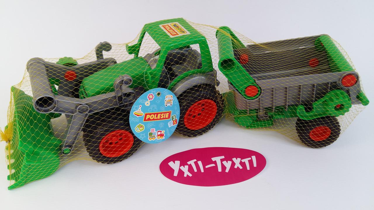 """Дитячий трактор з причепом, Трактор-навантажувач, іграшка """"Фермер-технік"""", (в сіточці) Polesie 8718"""