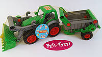 """Дитячий трактор з причепом, Трактор-навантажувач, іграшка """"Фермер-технік"""", (в сіточці) Polesie 8718, фото 1"""