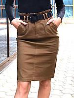 Однотонная джинсовая юбка