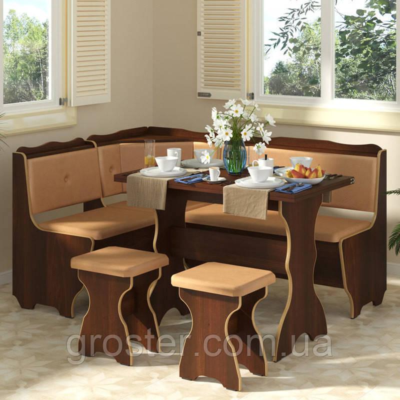 Кухонний куточок Фараон з розкладним столом та 2 табурети