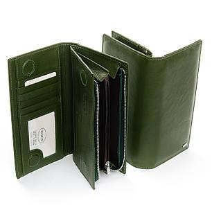 Жіночий шкіряний гаманець на блискавці з картхолдером зелений Dr.Bond WMB-3M, фото 2