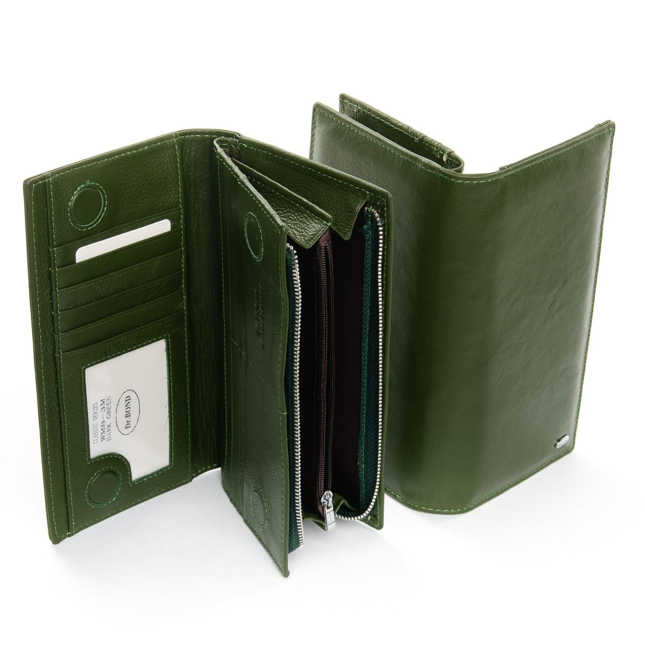 Жіночий шкіряний гаманець на блискавці з картхолдером зелений Dr.Bond WMB-3M