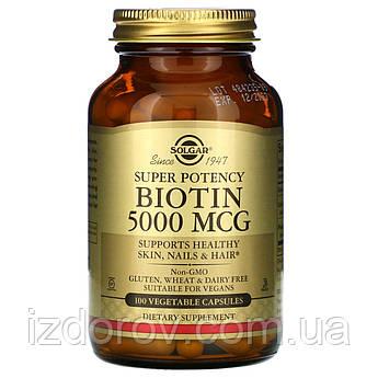 Solgar, Биотин, 5000 мкг, 100 растительных капсул