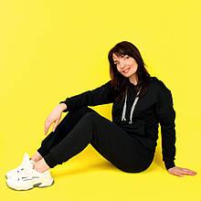 Костюм спортивний жіночий, худі і штани WAFA S-L чорний