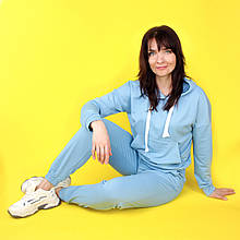 Костюм спортивний жіночий, худі і штани WAFA S-L блакитний