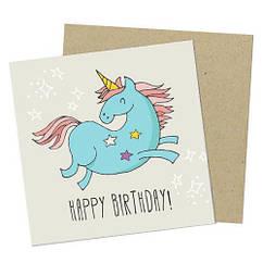 """Открытка с конвертом  """"Happe Birthday"""" 8х8см"""