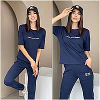 Летний спортивный костюм женский темно-синий КС/-4461