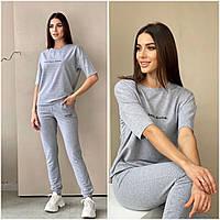 Летний спортивный костюм женский серый КС/-4461