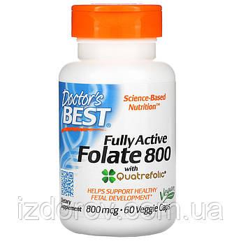 Doctor's Best, Полностью активный фолат 800 с кватрофоликом, Fully Active Folate, 800 мкг, 60 капсул