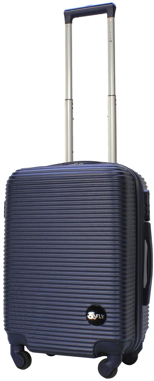 Чемодан пластиковый на 4х колесах малый S тёмно-синий   23х55х37 см   3.150 кг   35 л   FLY 91240