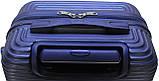 Валіза пластикова на 4х колесах мала S темно-синя   23х55х37 см   3.150 кг   35 л   FLY 91240, фото 3