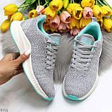 Кроссовки женские серые с ментолом- мятой текстиль весна/лето/ осень, фото 9
