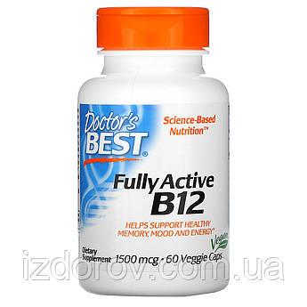 Doctor's Best, Активный витамин B12, 1500 мкг, 60 вегетарианских капсул